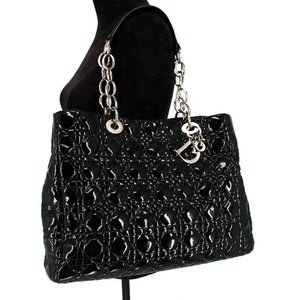 Dior Patent Cannage Dior Soft Shopping Tote Black